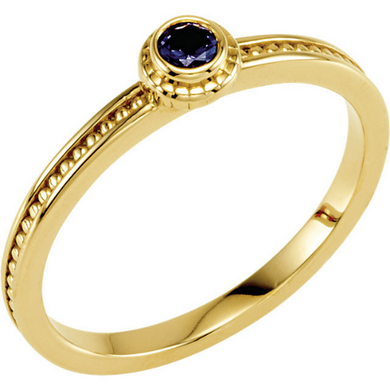 14kt Yellow Gold 3mm Round Blue Sapphire Stackable Ring