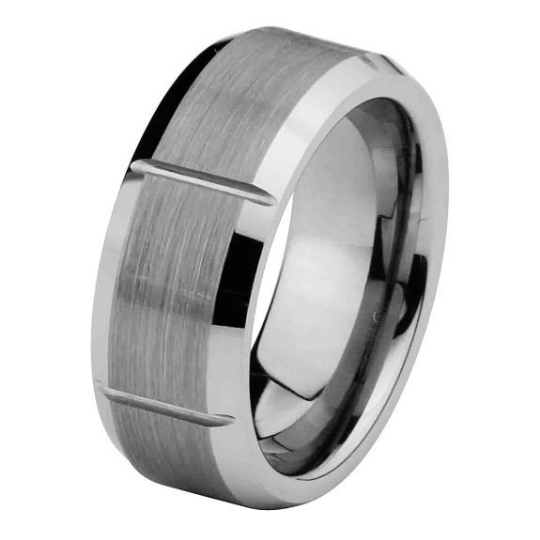 8MM Matte Finish Mens Tungsten Ring Wedding Band Beveled Edges Size 5 5.5 6 6.5 7 7.5 8 8.5 9 9.5 10 10.5 11 11.5 12 12.5 13 13.5 14 14.5 15