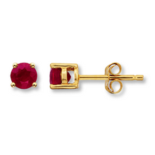 14kt Yellow Gold Ruby Stud Earrings Pick Your Birthstone