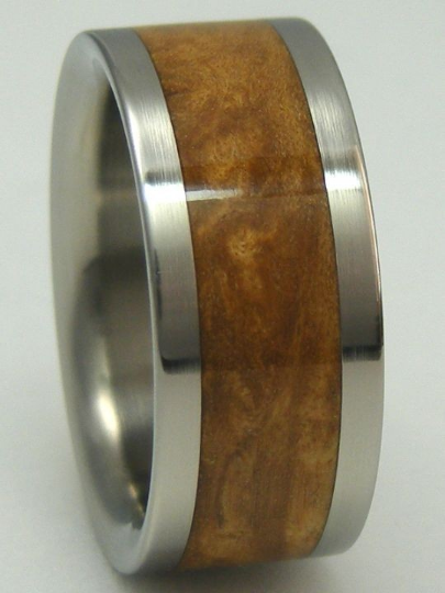 Titanium Ring SUGAR GUM WOOD Wedding Band Mens or Ladies Wooden Bands Available sizes 4-17