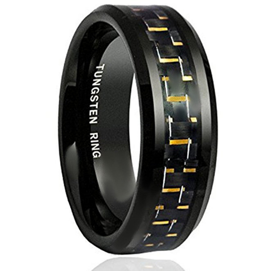 8mm Black Tungsten Wedding Band Gold Carbon Fiber Inlay Beveled Edge Unisex Sizes 7 7.5 8 8.5 9 9.5 10 10.5 11 11.5 12