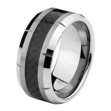 10mm Black Carbon Fiber Tungsten Carbide Wedding Band Size 7 to 15