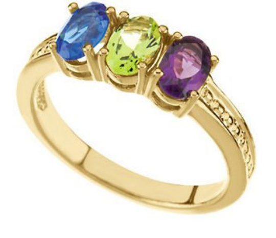 Mothers Ring 14k yellow Gold 6.00X4.00mm Three Oval Stones Amethyst Peridot Sapphire any Gemstone Preffered Sz 3 4 5 6 7 8 9 Plus Half Sizes