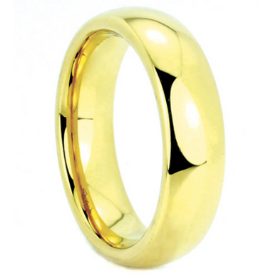 Tungsten Dome Wedding Band IP Gold Two Tone Comes in 4MM or 6MM Band Polished Finish Sizes 5 6 7 8 9 10