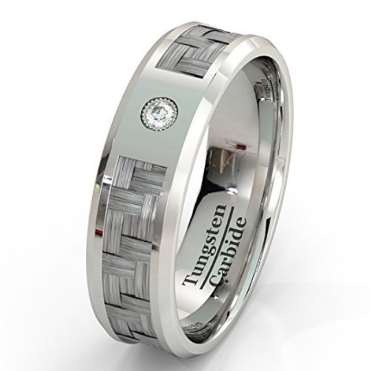 Diamond Tungsten Ring Carbon Fiber Inlay Genuine Diamond Wedding Bands 8mm Comfort Fit Size 8 9 10 11 12 13 14 and Half Sizes 14