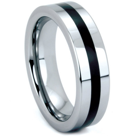 Tungsten Ring 6mm Band Single Row Black Resin Polished Finish Flat Design Sizes 5 6 7 8