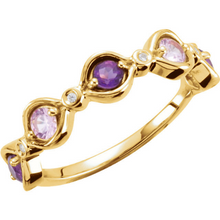 14kt Yellow Gold Amethyst Pink Tourmaline Mothers Ring