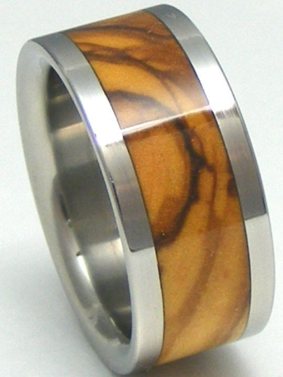 Titanium Bethlehem Olivewood Wedding Band His or Hers HOLY LAND Wooden Rings Available in Ring Sizes 4-17