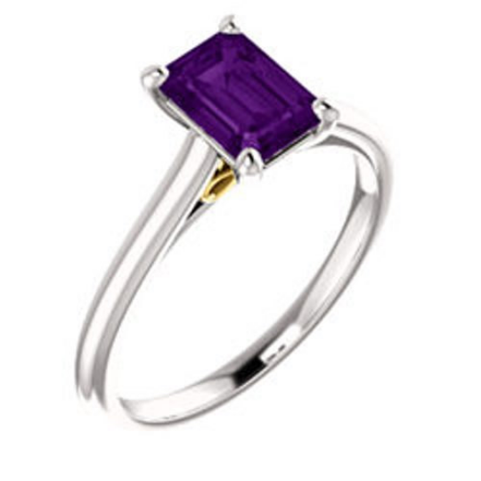 Amethyst Ring in 14kt White Gold & 14kt Yellow Gold