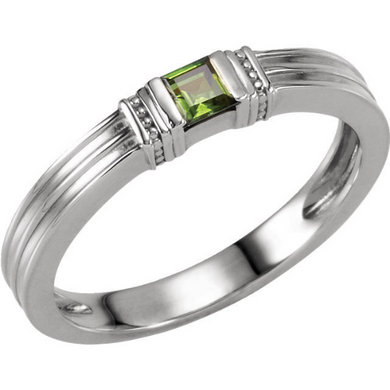 14kt White Gold 3x3mm Princess Green Peridot Stackable Ring