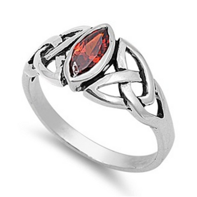 Celtic Design Sterling Silver Ring with Marquise Garnet Cubic Zirconia Gemstone HandCrafted Size 5 6 9