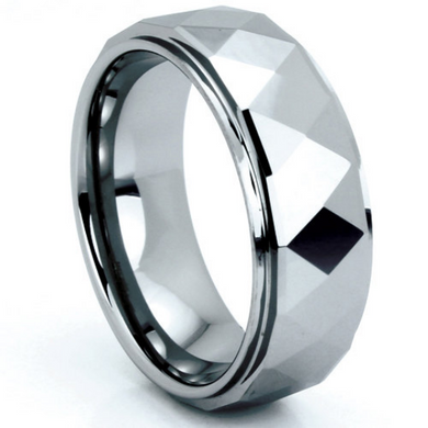 Tungsten Ring Prism Multi Faceted Design Comes in 8MM Comfort Fit Sizes 9 10 11 12 13 14