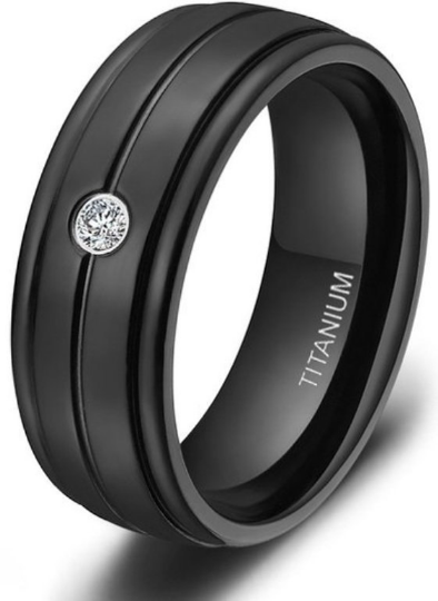 Black Titanium Diamond Wedding Band Genuine  Diamond Ring Beveled Edges 7mm Comfort Fit Size 7 8 9 10 11 12 13 14