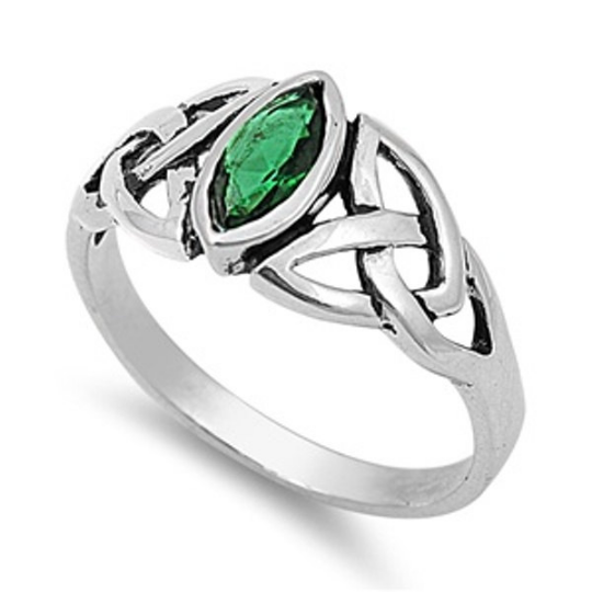 Celtic Design Sterling Silver Ring with Marquise Emerald Cubic Zirconia Gemstone HandCrafted Size 6 7
