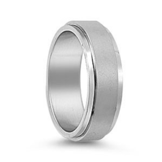 Silver Wedding Band Sterling 925 Matte Finish Polished Edges 8mm Custom Made Size 5 6 7 8 9 10 11 12 13 14 15