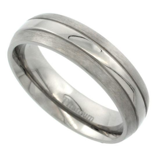 Titanium 6mm Domed Wedding Band Ring Two Lined Grooves Highly Polished Center Matte Edges Comfort Fit sizes 5 to 14