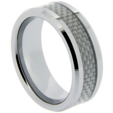 Tungsten Rings Carbon Fiber Inlay Wedding Bands 8mm Wide Comfort Fit Size 9 10 11 12 13 14