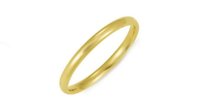 14kt Yellow Gold Wedding Band 2mm Half Dome High Polish Design Custom Made Size 4 5 6 7 8 9 & 1/4 size increments