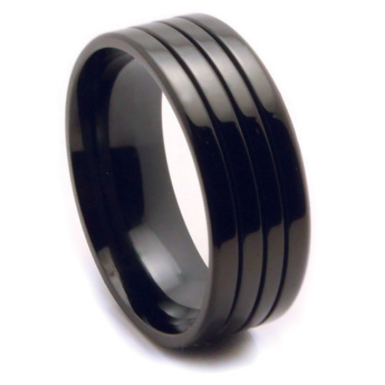 Black IP Titanium 8MM Wedding Band Grooved Design FREE gift Box Size 9 10 11 12 13