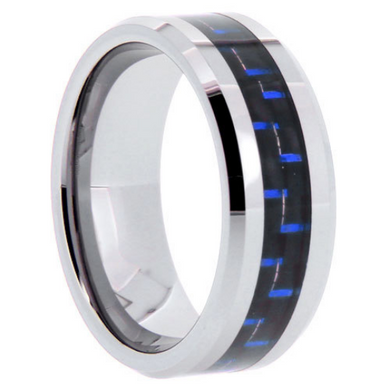 Tungsten Rings Blue Carbon Fiber Inlay Wedding Bands 8mm Wide Comfort Fit Size 5 to 13 + Half Sizes
