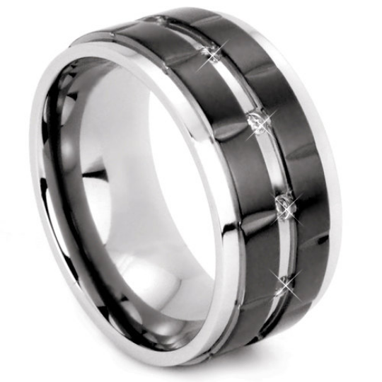 Black Titanium 10MM Wedding Band Cubic Zirconia Gemstones Two Tone Design FREE gift Box Size 9 11 12 13 14