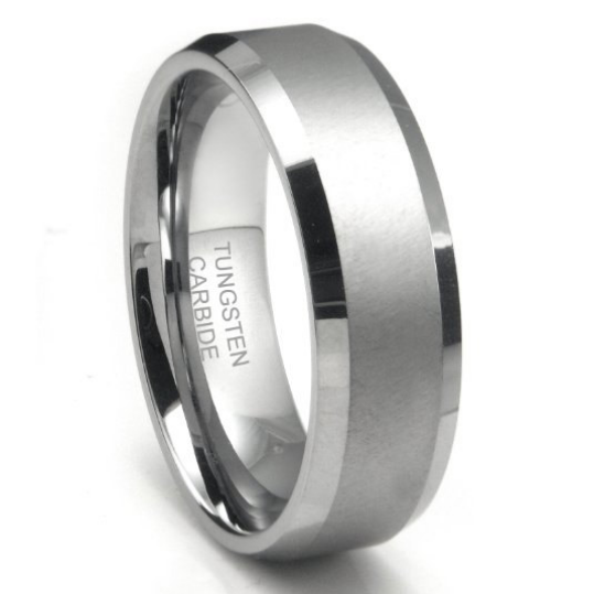 Tungsten Rings Wedding Bands 8mm Wide Satin Center Comfort Fit Size 7 to 16