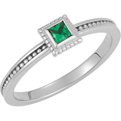 14kt White Gold 3x3mm Square Green Emerald Stackable Ring