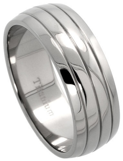 Titanium Wedding Band Comfort Fit Ring 8mm Width Polished Finish Domed Design Men or Womens Size 8 9 10 11 12 13 14 15