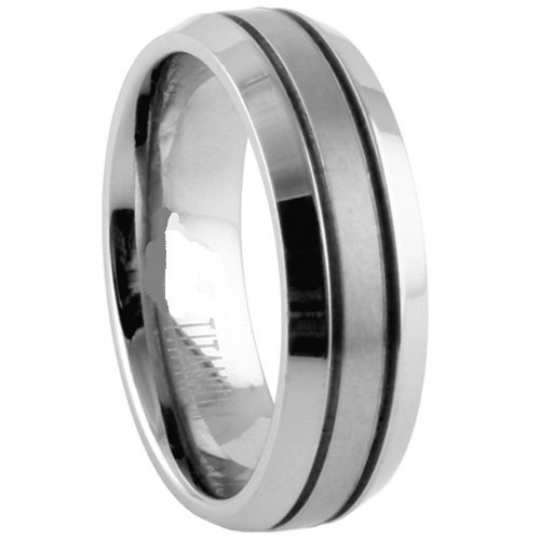 Titanium Wedding Band Comfort Fit Ring 8mm Width Satin Finish Polished Edge Men or Womens Size 9 10 11 12 13