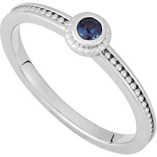 14kt White Gold 3mm Round Blue Sapphire Stackable Ring