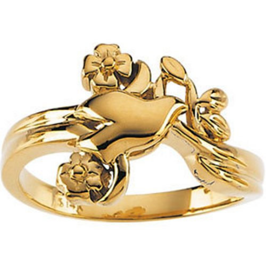 Holy Spirit Dove & Flower Ring 14kt Yellow Gold Design Polished Size 3 4 5 6 7 8 9 Plus Half Sizes