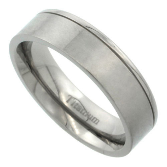 Titanium 6mm Flat Wedding Band Ring One Polished Grooved Edge & Matte Finish Comfort Fit sizes 5 to 14