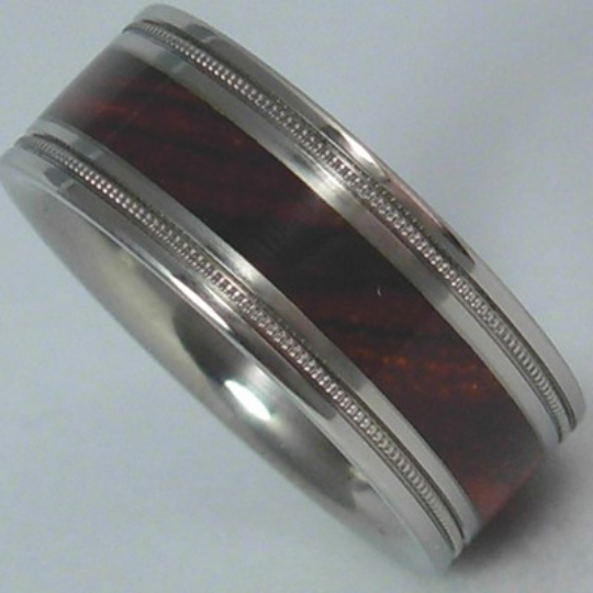 Custom Designed Titanium Wedding Ring W Cocobolo Wood Inlay Unique Band Milgrain Finish Available in Mens and Ladies Size 4-17 Bands