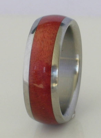 Titanium Wood Ring Exotic Pink Ivory Wood Wedding Band Comfort Fit Available for Men and Women Size 4-18