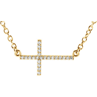 Religious Jewelry Diamond Sideways Cross Pendant in 14kt Yellow Gold 14kt White Gold & 14kt Rose Gold Design Cross Cable Chain Included