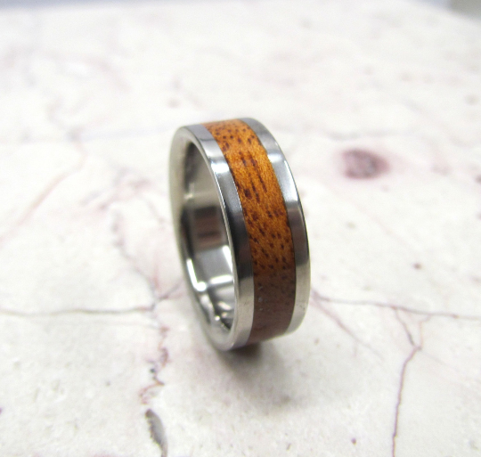 Pure Tungsten and Titanium Exotic Koa Wood Mens or Ladies Hand Crafted WEDDING Band Any Size 4-17 & 1/4 sizes