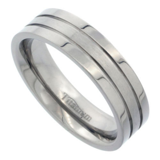 Titanium 6mm Flat Wedding Band Ring Two Lined Grooves Highly Polished Matte Center Comfort Fit sizes 7 to 14