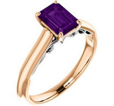 14kt Rose & White Gold Ring Amethyst Emerald Cut 7x5mm
