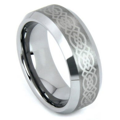 Tungsten Ring Laser Etched Celtic Design 8MM Wedding Band High Polish Finish Comfort Fit Size 7 8 9 10 11 12 13