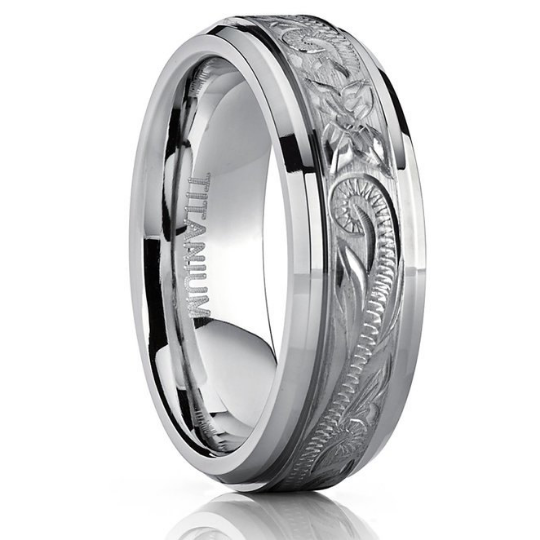 Titanium Wedding Band Comfort Fit Design Hand Engraved Unisex 7mm Width Beveled Edges Available in Sizes 7 7.5 8 8.5 9 9.5 10 10.5 11 12