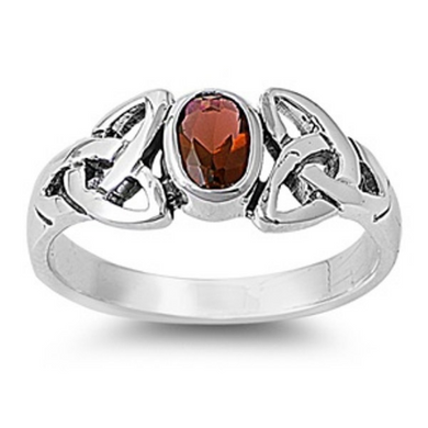 Celtic Design Sterling Silver Ring with Oval Cut Garnet Cubic Zirconia Gemstone HandCrafted Size 5