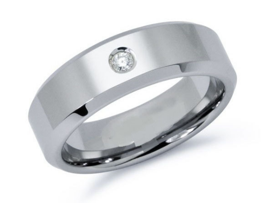 Tungsten 8mm Wedding Band Pipe Cut Design Beveled Edge Comfort Fit Round Diamond 0.10pts. Sizes 5 - 15