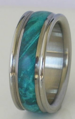 Titanium Turquoise Maple Burl Wood Band Wooden Wedding Ring size 4-17 Rings His or Hers Bands