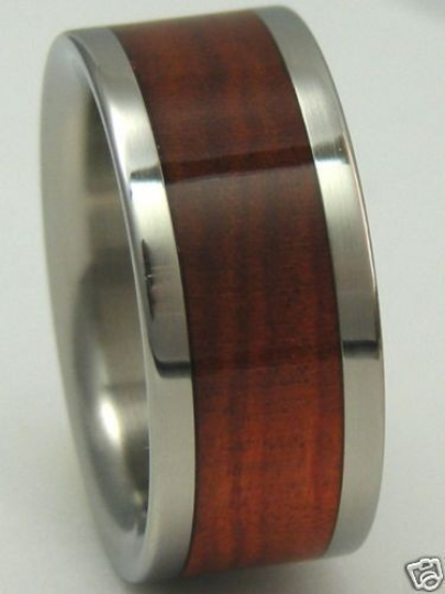 Tungsten Red Heart Wood Ring Custom Band Mens or Ladies Comfort Fit Wedding Bands Wooden Rings Available in sizes 4-17
