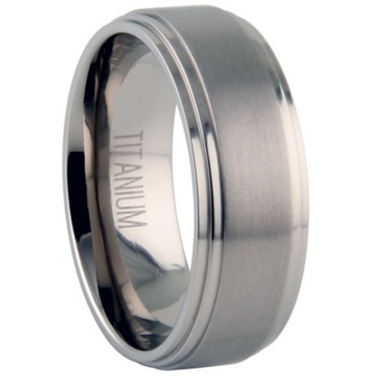 Titanium Wedding Band Comfort Fit Ring 8mm Width Satin Finish Polished Steps Men or Womens Size 6 7 8 9 10 11 12