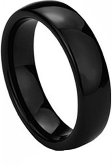 Black Tungsten Carbide Dome 6mm High Polished Classy Comfort Wedding Band Sizes 6 6.5 7 7.5 8 8.5 9 9.5 10 10.5 11 11.5 12 12.5 13 13.5 14