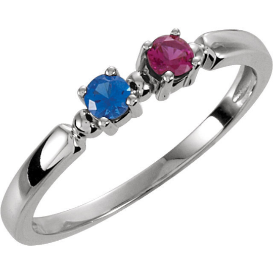 Mothers Ring 14kt white Gold Two Round 3.0mm Gemstones Pick Any Birthstone You Preffer Size 3 4 5 6 7 8 9 Half Sizes