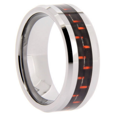 Tungsten Rings Red Carbon Fiber Inlay Wedding Bands 8mm Wide Comfort Fit Size 8 to 13 + Half Sizes