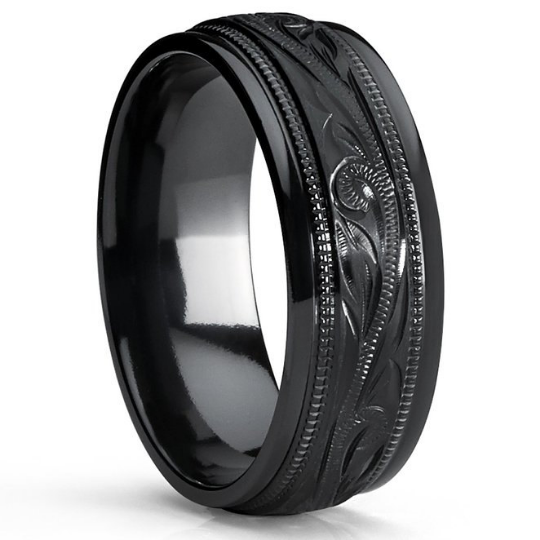 Titanium Wedding Band Black Plated Design Hand Engraved Unisex 8mm Width Beveled Edges Available Sizes 7 7.5 8 8.5 9 9.5 10 10.5 11 11.5 12