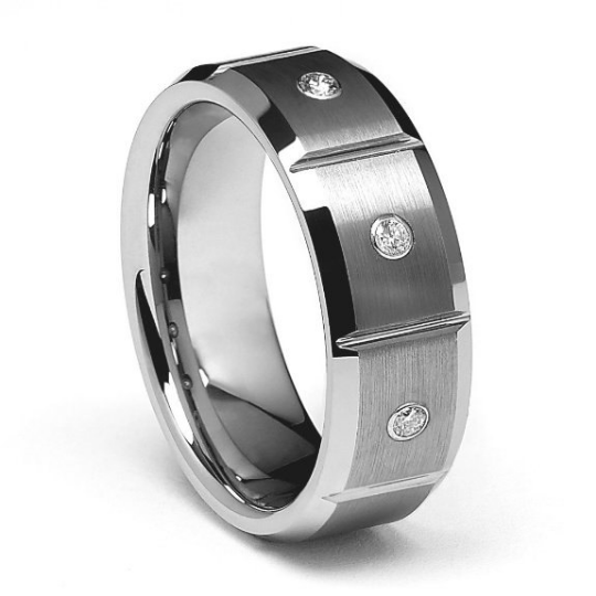 8mm Tungsten Carbide Wedding Band Three Genuine Diamonds Set in Bezels Comfort Fit Design Size 8.5 9 9.5 10 10.5 11 11.5 12 12.5